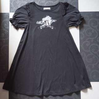 日本品牌 Ank Rouge 黑色天使圖案公主袖連身裙