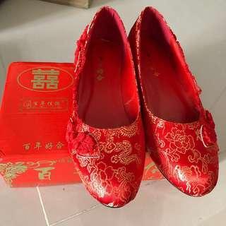結婚平底繡花褂鞋40碼