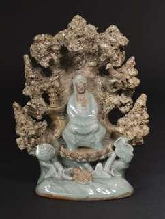 Ming Longquan Celadon and Biscuit Guanyin Shrine