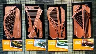 台灣橋樑銅書籤(一組4片)
