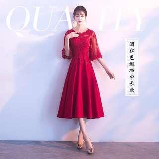 🚚 二手禮服 訂婚酒紅色小禮服洋裝最大碼
