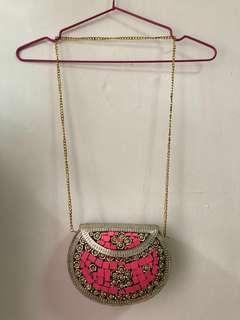 Delhi Mosaic Pink Metal Boho Bag #dressforsuccess30