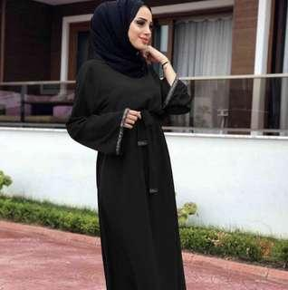 PREORDER: JUBAH ABAYA SIMPLE BLACK RED free instant hijab
