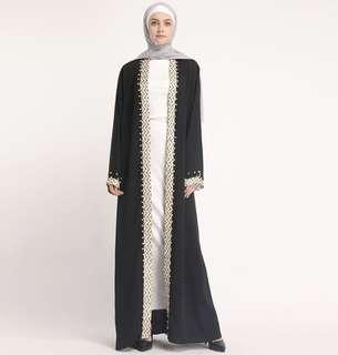 PREORDER: JUBAH ABAYA SIMPLE BLACK BORDER free instant hijab