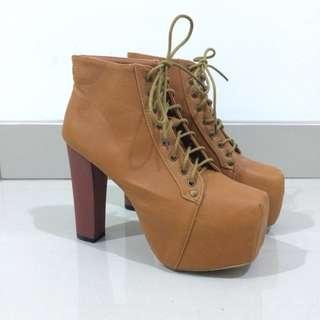 High Heeled Ankle Boots dengan Platform Kece Keren Banget Coklat Tan