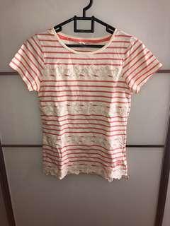 Kaos TOP stripes pink white