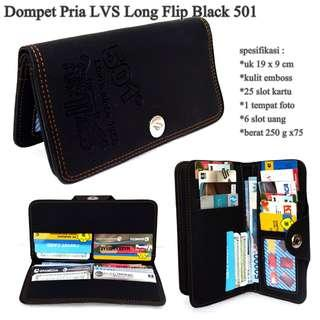 High quality dompet pria lvs embos long black-motif 501