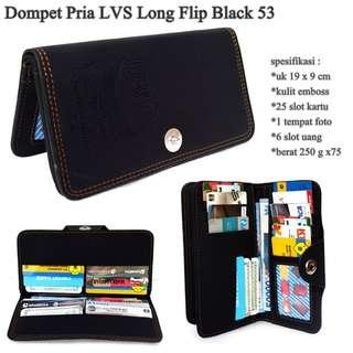 High quality dompet pria lvs embos long black-motif 53