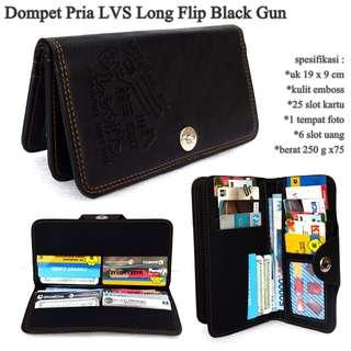 High quality dompet pria lvs embos long black-motif gun