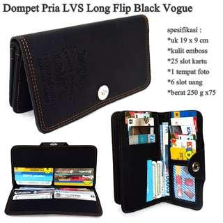High quality dompet pria lvs embos long black-motif vogue