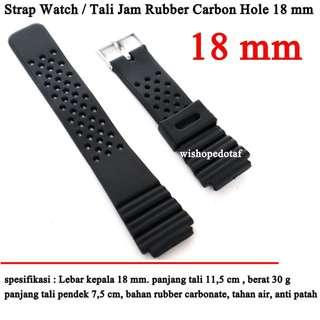 Tali jam tangan Rubber Carbonat 18 mm terbaru branded- hole