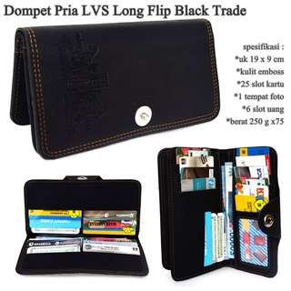 High quality dompet pria lvs embos long black-motif trade