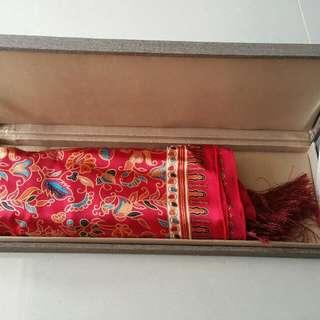 Silk Scarf Red Kebaya Print