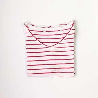 Uniqlo Striped Red & White Boxy Shirt • Size S - M