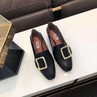 女神鞋Bally金典方扣4.5cm粗跟鞋