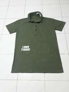 Army Green Oversized tee shirt or dress.(with 2pocket infront)