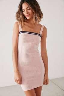 Urban outfitters ribbed knit straight neck mini dress
