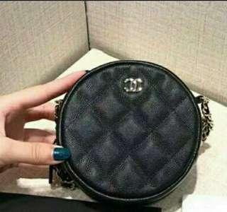 👍👍👍保證全新正品Chanel新款mini 黑色淡金色 小圓包 零錢包 鏈條包