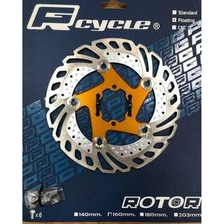 🚚 PRGcycle PBR-19 Floating Rotor 160mm Gold Color with alloy spider