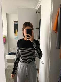 Stripy cropped sweater
