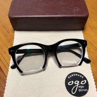 🚚 手工框 賽璐珞 眼鏡 ogo 黑色 設計師框 特殊造型