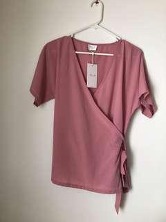 🚚 Pink Top/ Blouse - work shirt great for breastfeeding