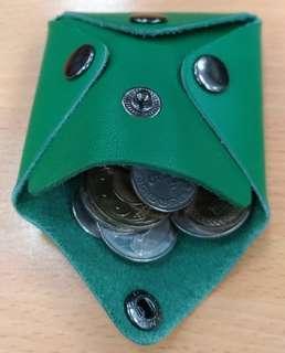 [真皮] 牛皮零錢包 (綠)