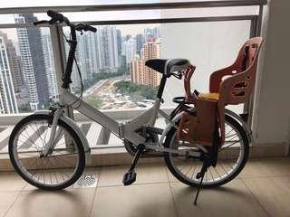 Folding bike with baby seat