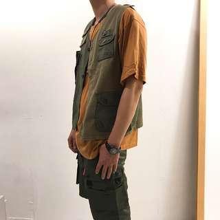 🚚 2024 Otoshi 日系 狩獵 拼接 鐘樓怪人 工裝 多口袋 背心