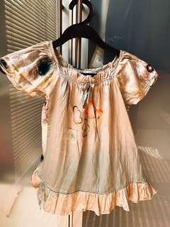 100% Silk Baby Dress Gold Floral 18m 2T