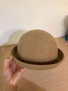 淺咖啡圓形捲沿小禮帽