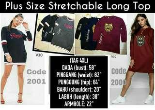 PLUS SIZE STRETCHABLE LONG TOP - instock limited.