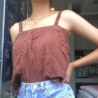 brown double strapped tank top