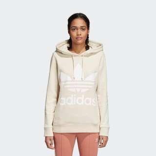 Adidas Beige trefoil hoodie jumper size 6