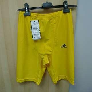 全新 Adidas 黃色運動打底緊身褲 日本版