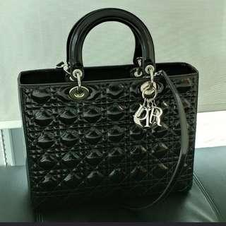 Authentic Lady Dior Large Patent Bag