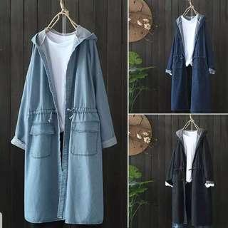 [PO] Denim Hooded Long Windbreaker /Coat (8)