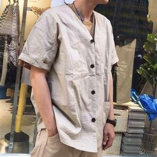 🚚 2023 Otoshi 日系 卡 米白 職人 多口袋 短袖 襯衫