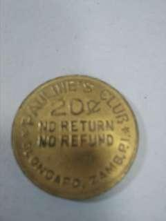 Vintage Token: Pauline's Club / 20 ¢ / Olongapo, Zamb. P.I. Reverse: same but / Angeles, Pamp. P.I. rare uncirculated condition