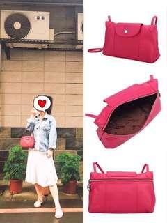 🚚 Longchamp 郵差包/斜背包  小羊皮Le Pliage Cuir 桃紅色