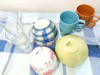 11pcs set Glass container Plates Bowls mugs glasses