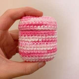 AirPods case 粉紅手作針織保護套
