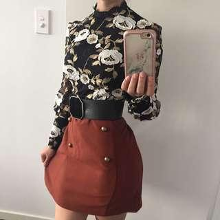 Brown Skirt With Buttons Brand New