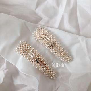 READY STOCK Korean Pearl Hair Clips - GOLD