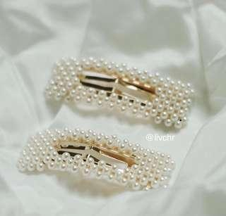 READY STOCK Korean Pearl Hairclips - SILVER Rectangle