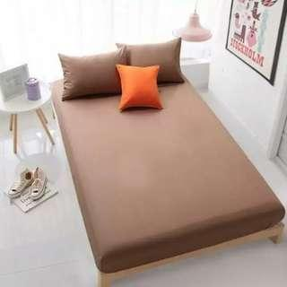 3 PCS Bedsheet Set - Solid Brown - Size Super Single