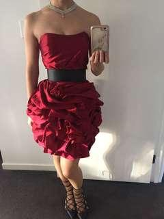 Red Satin Ruffle Strapless Dress