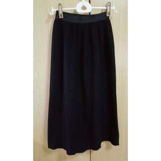 🚚 黑色細摺長裙