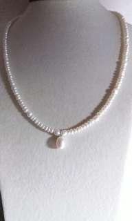 925 Sterling silver corn shape freshwater pearl necklace with oval drop pendant