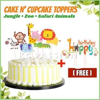 ANIMAL THEME CAKE TOPPERS Jungle O Zoo Safari Animals